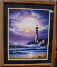 Lighthouse With Large Moon lighted picture