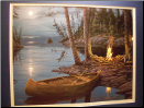 Camp Fire Canoe lighted print